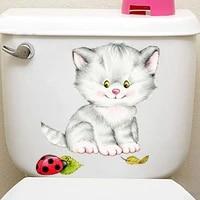 Autocollants muraux a trous casses en forme de chat  6 styles  pour toilettes  salle de bains  decorations de maison  Art Mural  autocollants danimaux  Diy bricolage  affiches 3D