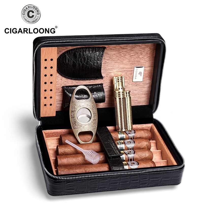 COHIBA Cigar Case Leather Built-in Cedar Cigar Box Travel Humidor Without Cigars Lighter Cutter CLA-T113-1 enlarge