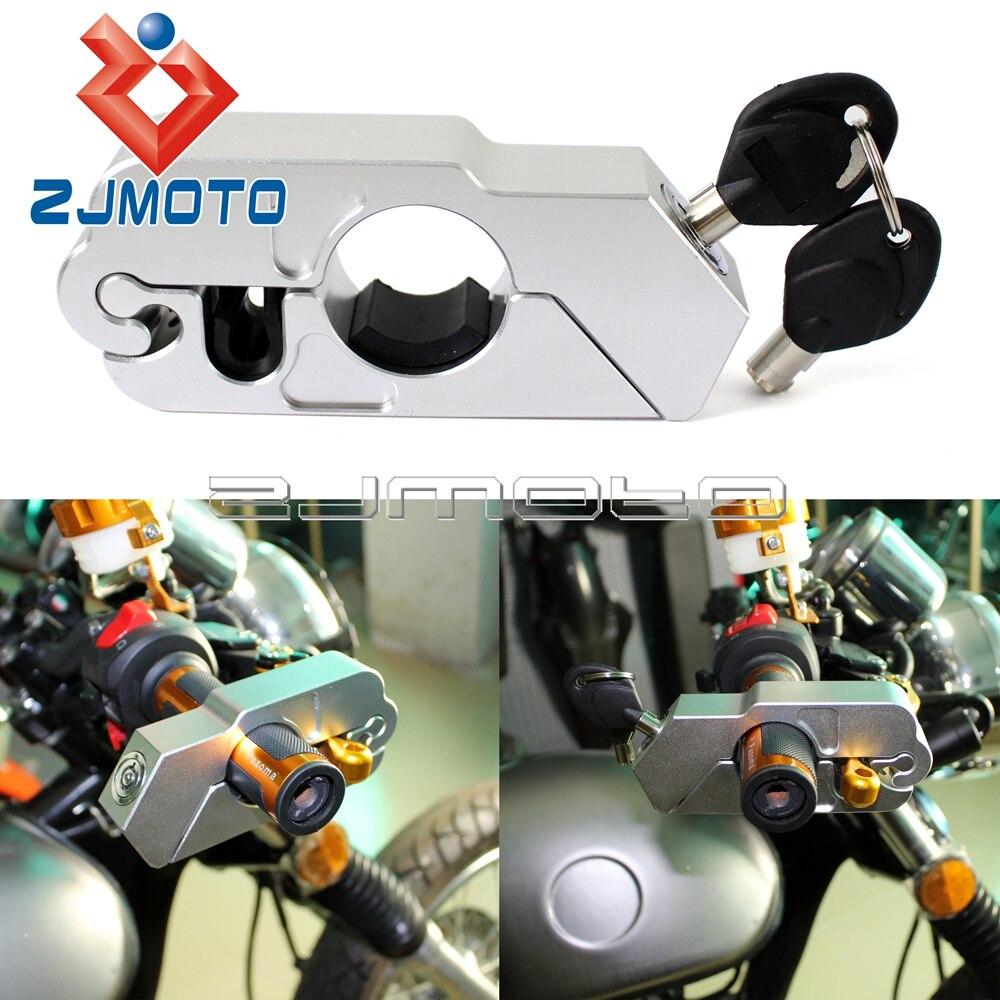 Plata Scooter manillar bloqueo antirrobo palanca de freno Bloqueo de acelerador protección bloqueo de seguridad