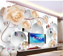 Papier peint 3d personnalisé mural rose roses canne 3 d TV fond mur décor à la maison salon papier peint pour murs 3 d