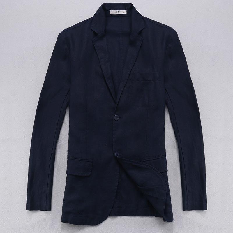 Chaqueta de lino 100% para hombre, blazer de lino de manga larga, chaqueta de negocios informal para hombre, chaqueta Lisa a la moda para hombre, talla grande, terno masculino