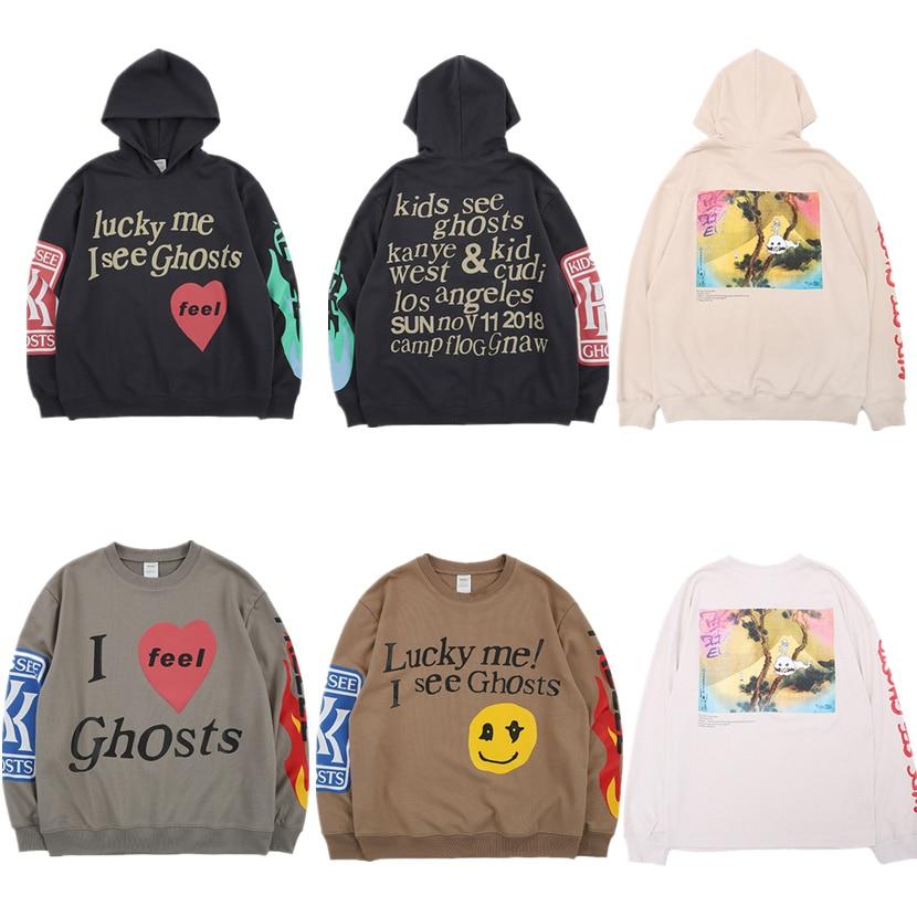 Kanye West KIDS/толстовка с капюшоном с изображением призраков, Мужской пуловер, Новое поступление 2019, Модные свитшоты лучшего качества, хип-хоп то...