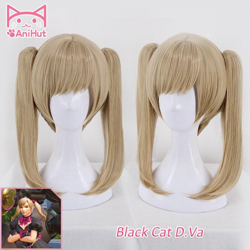 [Anihut】черная кошечка Dva Wig, короткие прямые волосы с челкой, хвостики, игра OW D. VA, косплей Wig OW, новая кожа, черная кошечка D. Va, для косплея