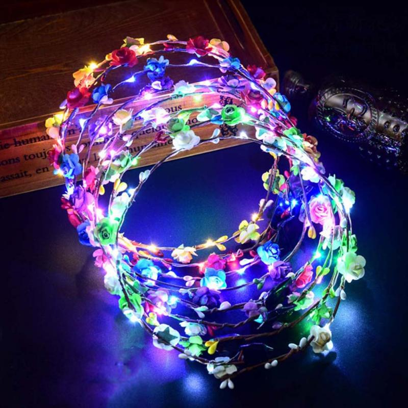 Corona de fiesta de flores diadema LED corona para el pelo con luz diadema guirnaldas Navidad neón guirnalda de boda guirnalda que brilla juguete para regalo