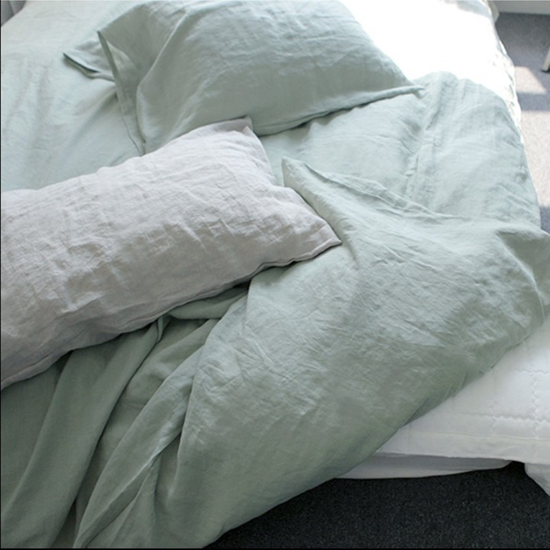 Juego de 3 uds de 100% sábana plana de cáñamo/colcha + 2 fundas de almohada/almohada sham queen king o personalizar el tamaño enzima wash soft fabric