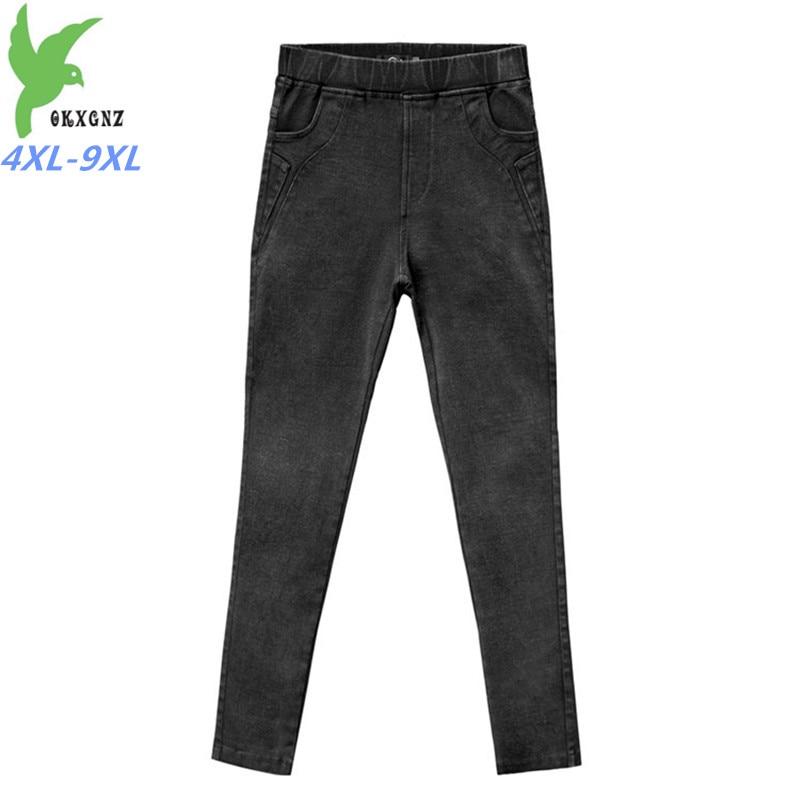 Elasticity Imitation Denim High waist Pencil Pants Women Plus size 4XL-9XL Black Ankle-Length Pants Female Sexy Casual Pants G43