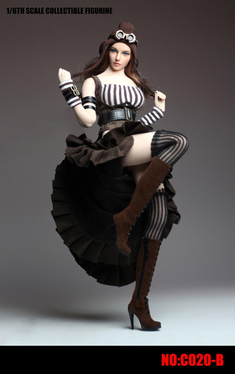 1/6 escala vestido Steampunk femenino Sexy conjunto de ropa femenina vestido de mujer adecuado para PH big Mama acción figuras cuerpo