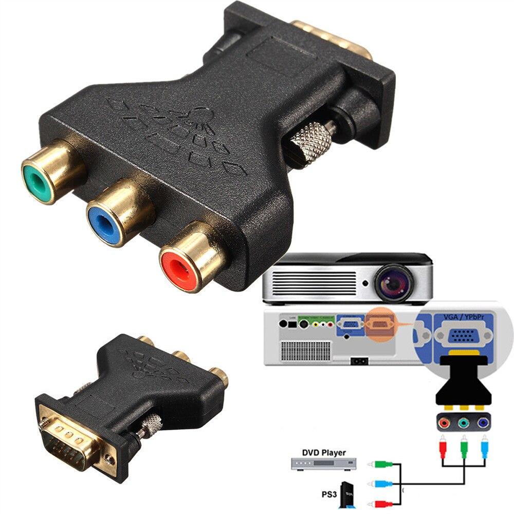 Convertidor de conector VGA a RCA macho VGA a 3 RCA, RGB vídeo hembra a HD 15-Pin VGA estilo componente conector adaptador de conector de vídeo
