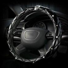 Luxe en cuir diamant couronne voiture volant couverture femmes cristal strass couvre sur la direction pour Chevrolet benz Mercedes