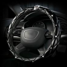Luxus Leder Diamant Krone Auto Lenkrad Abdeckung Frauen Kristall Strass Abdeckungen auf lenkung Für Chevrolet benz Mercedes