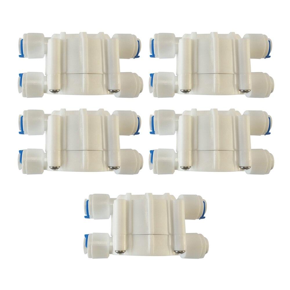 """5 pces 1/4 """"válvula de fechamento automática com conexões rápidas para o aquário do regulador de pressão da válvula de osmose reversa de ro 4 vias"""