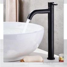 Grifo de fregadero de material individual fría para baño de acero inoxidable 304 negro