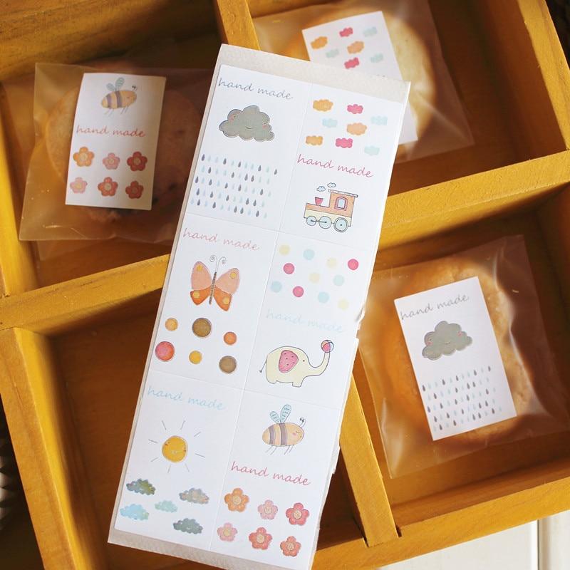 Adhesivos de cartón hechos a mano sello etiqueta lindo sellado paster panadería paquete regalo embalaje decoración niños favores
