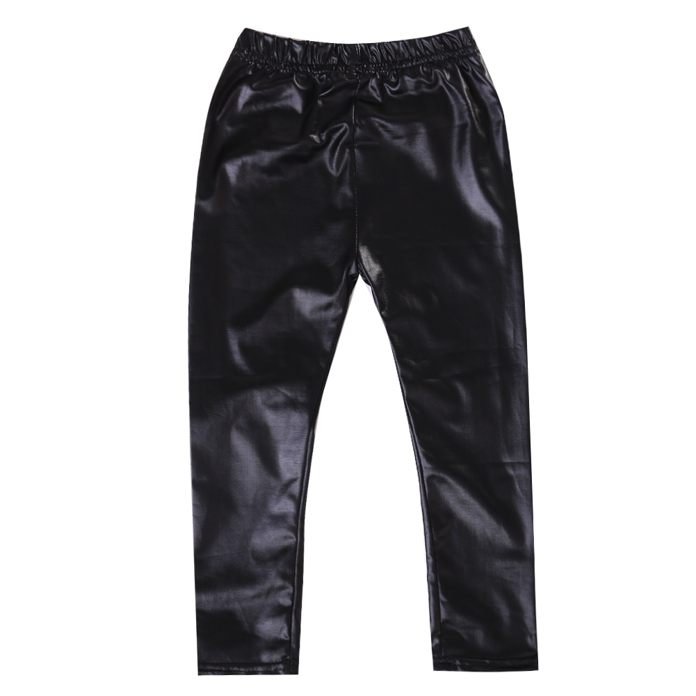 Moda 2017 Grils leggings Preto faux couro fino crianças leggings Bebê crianças calças leggings Alta elasticidade 1-8A
