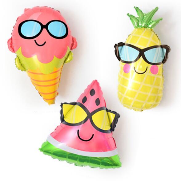 Sandía/helado/piña playa temática hawaiana fiesta globos metalizados Luau fiesta Ballonnen suministros de decoración