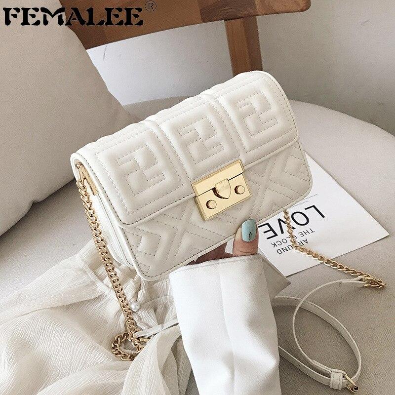 High Quality French small bag 2019 new fashion All Match handbag single shoulder slung chain embroidery thread Mini square bag