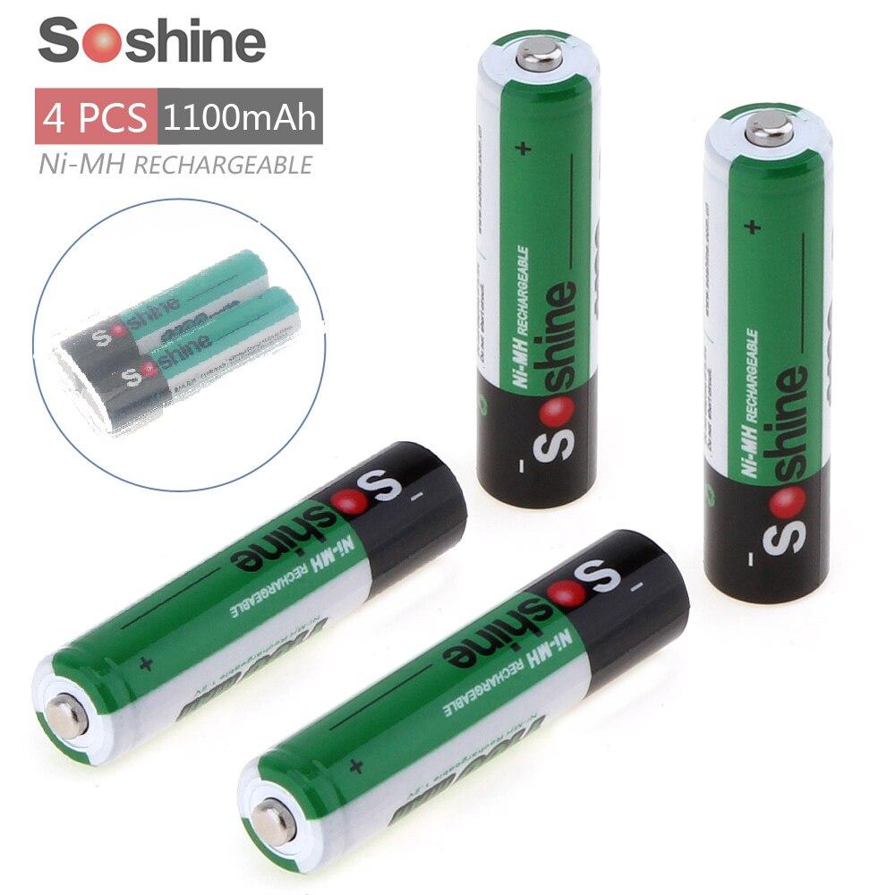 4 Uds Soshine 1100mAh 1,2 V AAA batería/3A batería Ni-MH NiMH batería recargable + caja de almacenamiento estuche protector de batería
