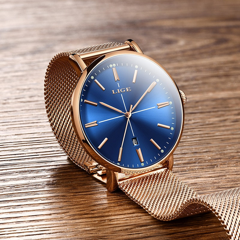 Women Watches LIGE Top Brand Luxury Ladies Mesh Belt Ultra-thin Watch Stainless Steel Waterproof Clock Quartz Watch Reloj Mujer enlarge