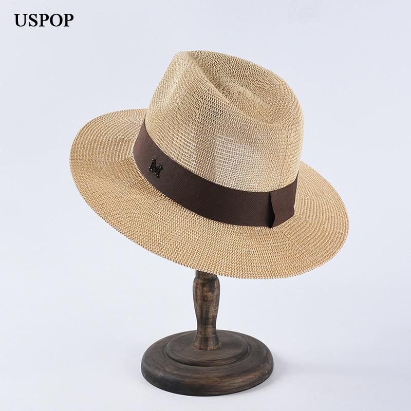 USPOP новые мужские Панамы летние соломенные шляпы от солнца с буквой «М» и соломенные шляпы Повседневная летняя обувь пляжная шляпа классиче...
