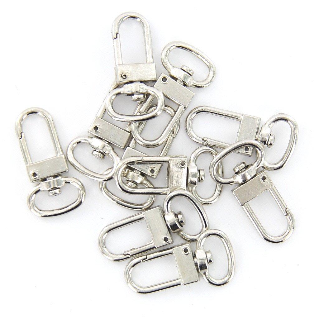 10 шт. Высокое качество поворотный карабин крюк Серебряный цвет брелки брелок для ключей кольцо 18 мм x 33 мм