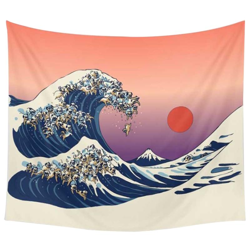 150*130cm tapicería adorno de poliéster Animal y Mapa Mundial toalla con estampado de playa de moda decoración mural para sofá (naranja blanco)