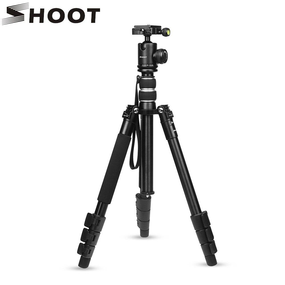 SHOOT soporte de trípode de cámara de viaje profesional portátil ligero para cámara Digital SLR DSLR soporte de aluminio con cabeza de bola