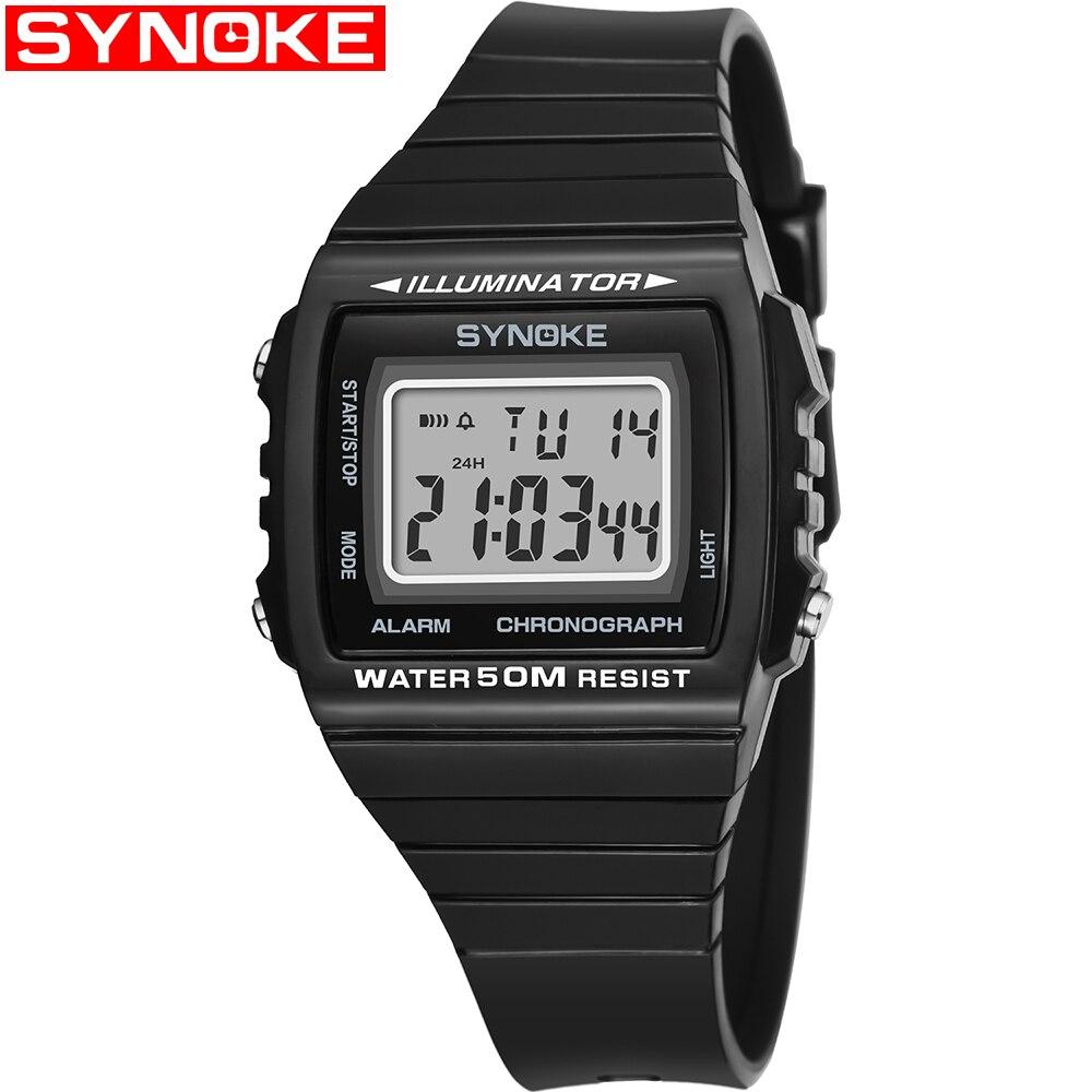 Reloj Cuadrado Negro Azul electrónico para estudiantes universitarios para hombre, reloj deportivo impermeable para exteriores, reloj Digital de plástico para hombre
