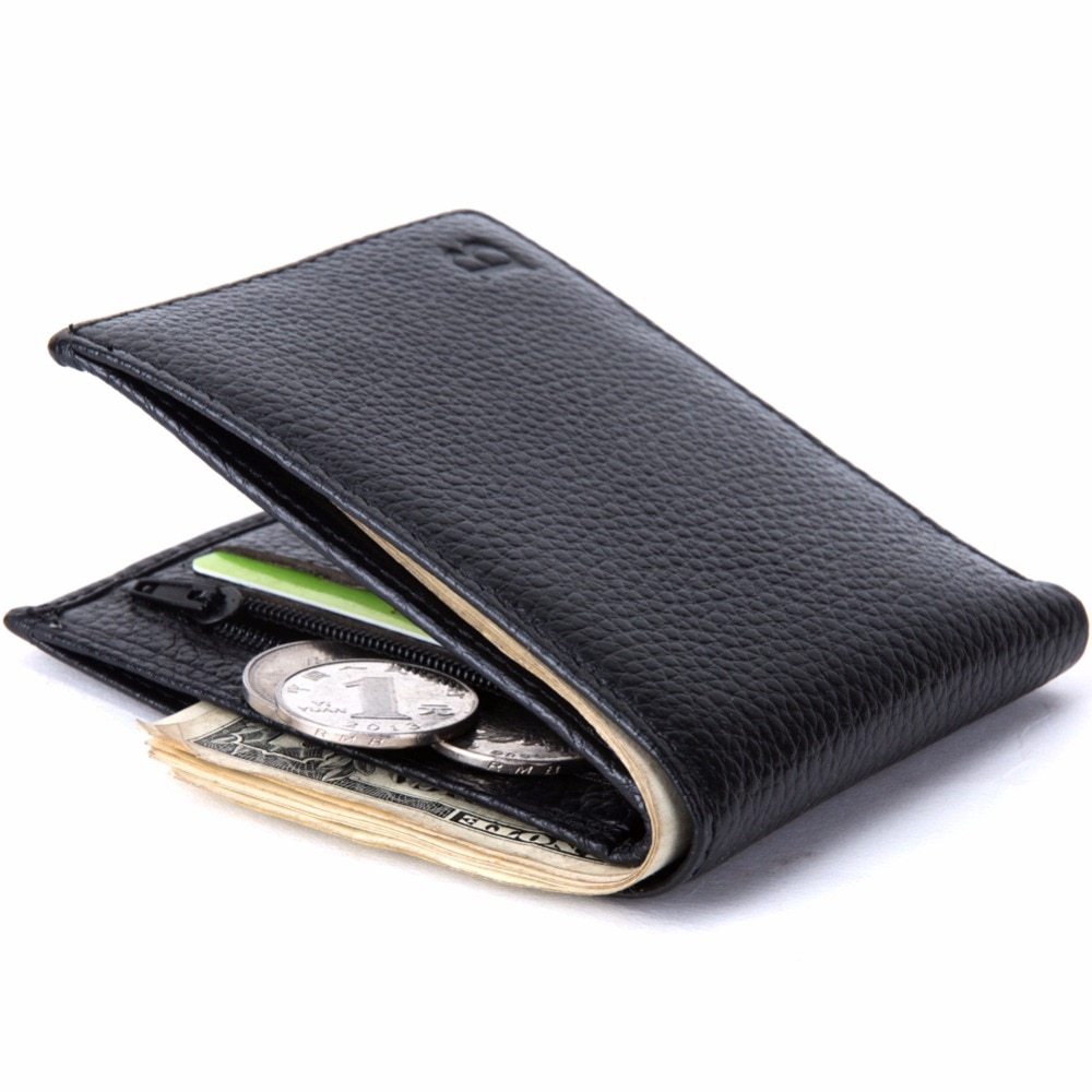 Мужской тонкий кошелек из натуральной кожи с отделением для монет|wallet with|wallet