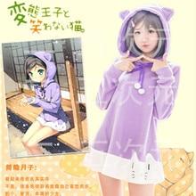 The HENTAI prince and the stony cat Tsutsukakushi tsukiko Purple Cat Ear Cute Hoodie Dress Daily Coat Wig Cosplay outfit Costume