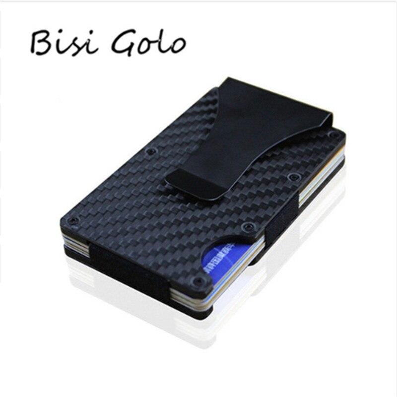 BISI GORO Metal Mini Money Clip Brand 2020 Fashion Carbon Fiber Black Silver Credit Card ID Holder With RFID Anti-chief Wallet