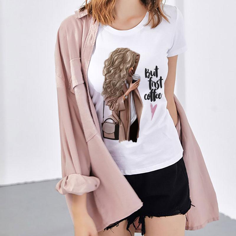 CZCCWD Frauen Kleidung 2019 Sommer Dünne Abschnitt T Hemd Aber Erste Kaffee Harajuku Brief Gedruckt T-shirt Freizeit Streetwear T-shirt