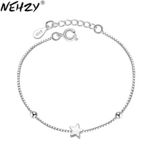 NEHZY 925 en argent sterling nouvelle femme de luxe marque bracelet à la main bijoux chaîne étoile à cinq branches mode simple cube 16.5 + 3CM