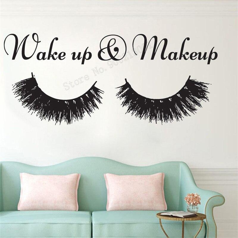 Arte de pared pegatina pestañas decoración de la pared decoración de maquillaje vinilo removable póster cosméticos Mural salón de belleza ornamento LY389