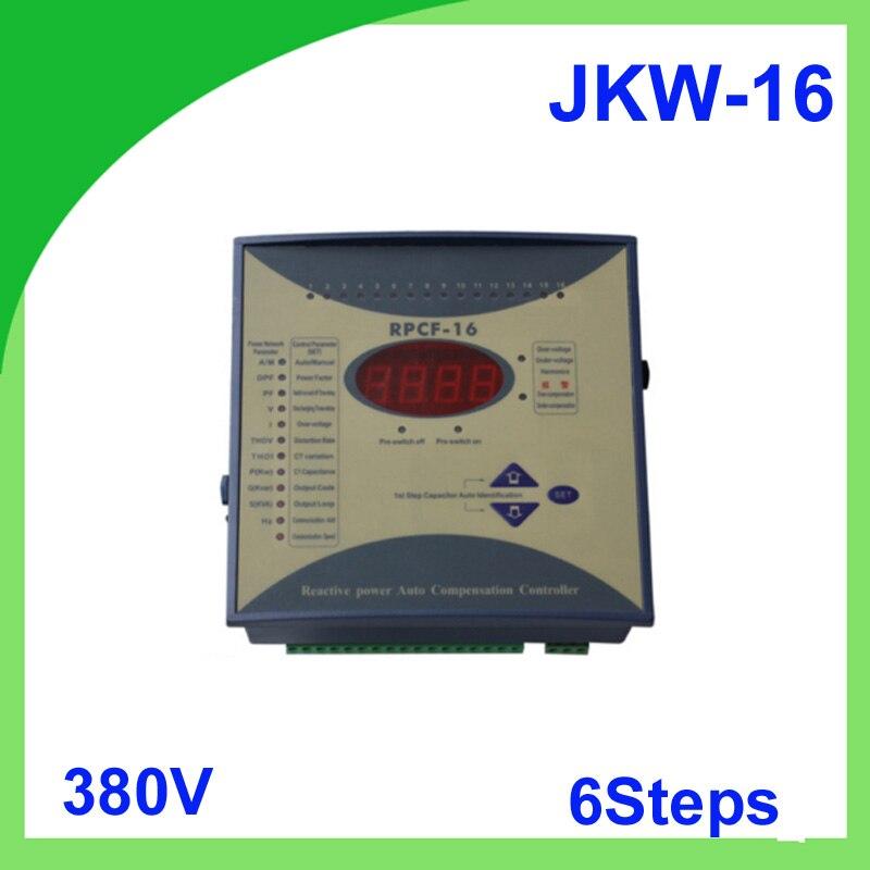 JKW-16 factor de potencia 380 v 6 pasos 50/60Hz JKW16 RPCF regulador de potencia factor compensador Factor de potencia Digital metro