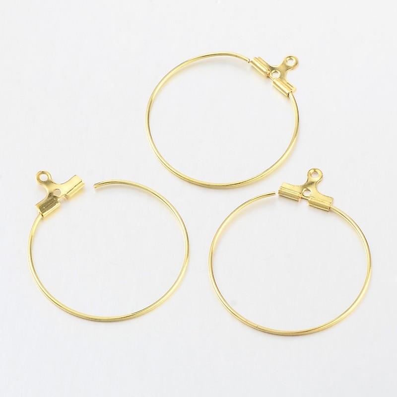 أقراط حلقية من النحاس الأصفر لصنع المجوهرات ، 300 قطعة ، إكسسوارات DIY ، ذهب ، 28 × 0.7 مللي متر ، ثقب: 1 مللي متر
