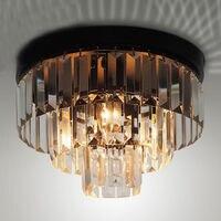 Modern Simply LED Cake Crystal Ceiling Light Bedroom Lamp Flush Mount Fixture Lighting Aisle Iron Retro Dining Room Lights PL447