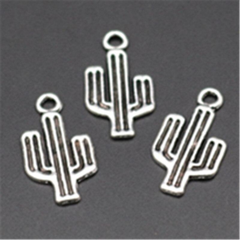 25 uds., Color plata, Chihuahua mexicano, desierto, cactus único, pendientes, pulsera, DIY, colgantes de aleación con pedrería A670