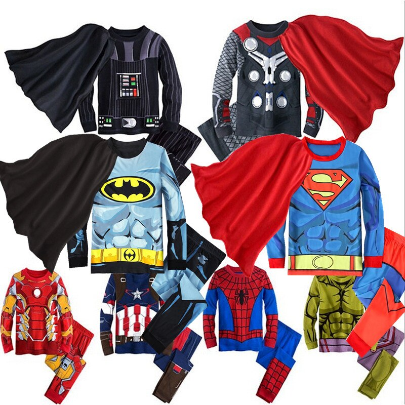 2019 spring autumn baby boy clothes set Spiderman Batman Superman Kids pajamas sets long sleeve tops+pants Child Clothing set