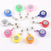 10 pièces couleurs mixtes bouton pression extensible support pour lunettes ID porte-Badge porte-clés nom porte-étiquette broche ajustement 18 MM bouton pression