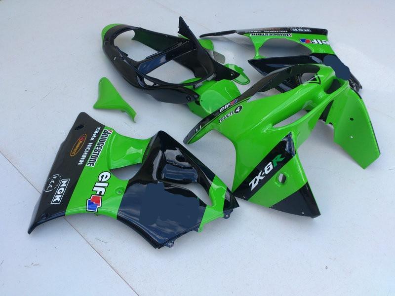 Kit de carenado de motocicleta para KAWASAKI Ninja ZX6R 636 98 99 ZX 6R 1998 1999 zx6r ABS, TOP, verde brillante, negro, juego de carenados + regalos KX08
