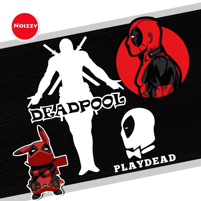 NOIZZY Deadpool Figura Автомобильная Наклейка Play Dead виниловая отражающая на заказ Модная черно-белая оконная тюнинг Стайлинг двигателя