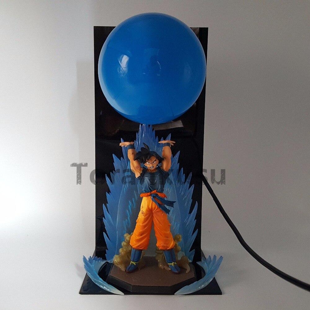 Dragon Ball Z Son Goku Super Saiyan Spirit Bomb Action Figure Anime Dragon Ball Z Model Toy DBZ LED Blue Bulb Figurine
