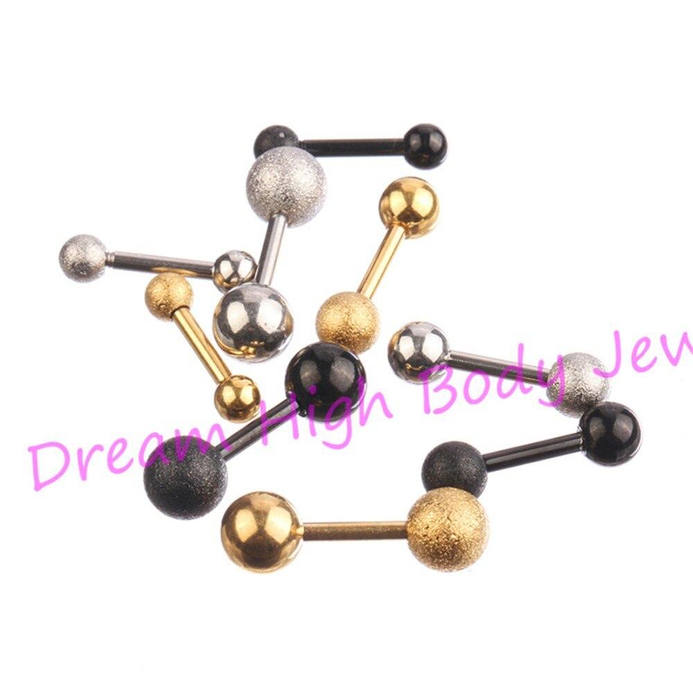 HENGKE Jewelry Golden Frosted Earring Ear bone nail Length 6mm Titanium Black SteelStud straight barbells Eyebrow Ball DH18