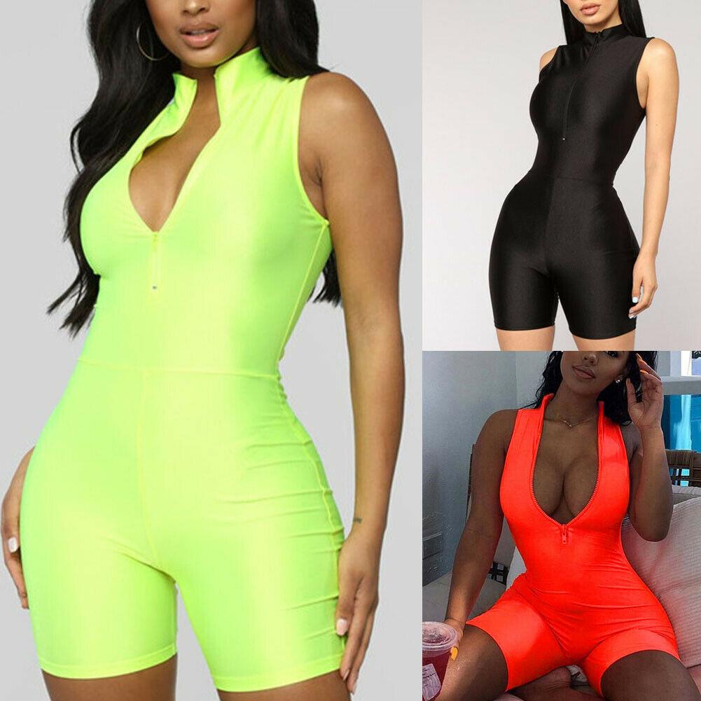 Women Sleeveless V-Neck Playsuit Romper Ladies Bodycon Party Leotard Bodysuit Short Jumpsuit Holiday Summer Clubwear 2019