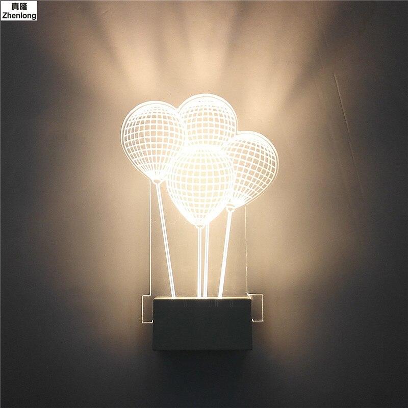 Современный светодиодный настенный светильник, 3D креативный акриловый настенный светильник 8 Вт, воздушный шар, светильник, настенный свет...