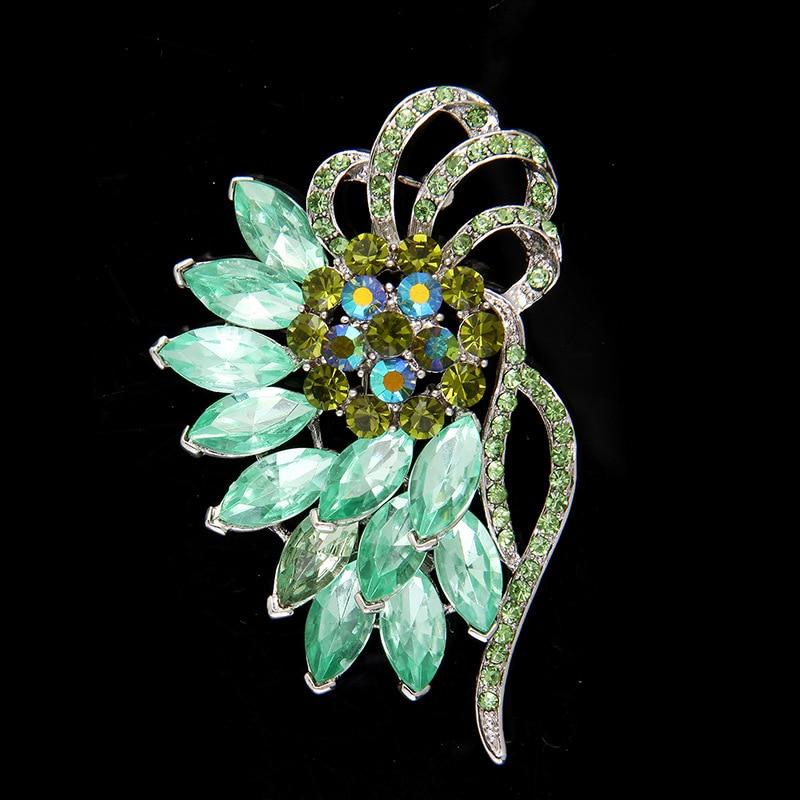 Broche Wukaka 2017 de cristal verde con flores, broche de aleación de diamantes de imitación, broches de oro rosa, regalo del Día de San Valentín