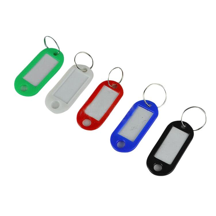 50 En 1 surtido de plástico de Color Llavero con ID etiqueta Tarjeta De Nombre etiqueta llaveros