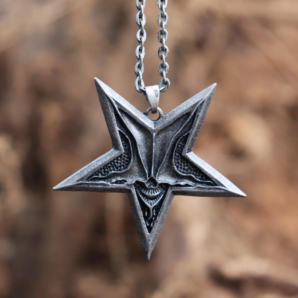 Винтажные мужские сатанические сатаны с изображением перевернутой пентаграммы ожерелья с черепами демон хаос звезда кулон женские ювелирные изделия в стиле готик-панк