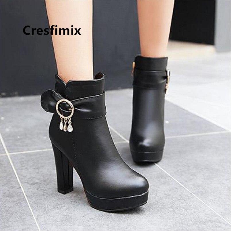 Damskie buty Cresfimix mulheres bonito preto pu de couro de salto alto botas de senhora plus size 34 para 43 rosa botas legal outono botas a6037