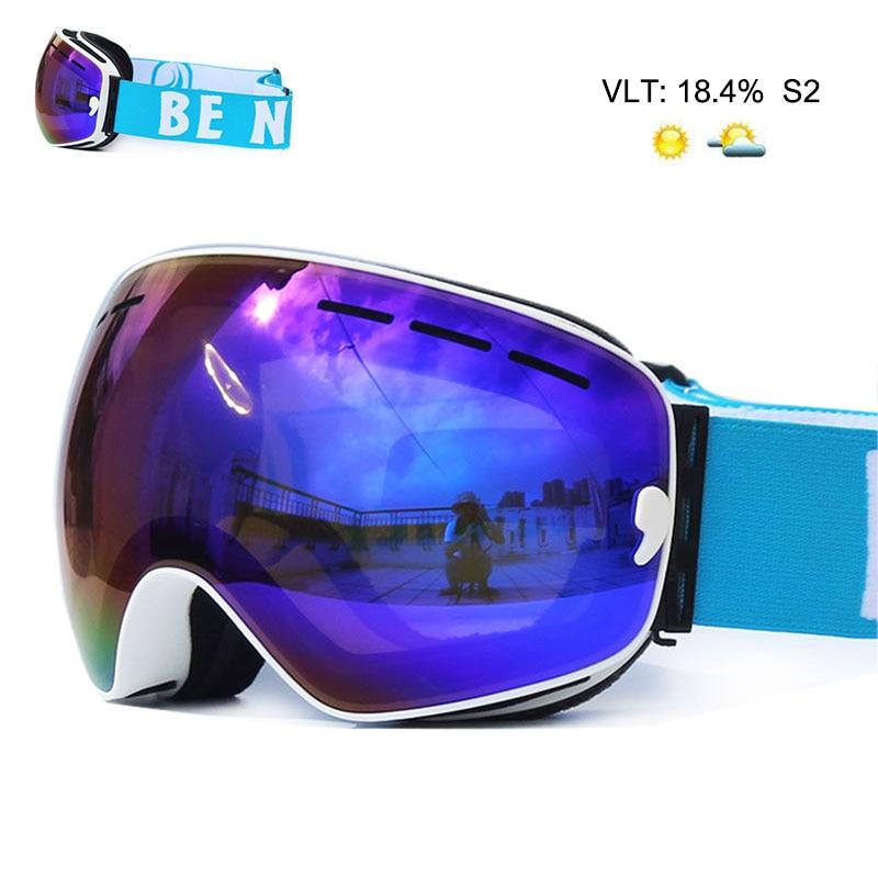 Gafas de esquí de doble capa antivaho UV400, lentes grandes, máscara de esquí, gafas de esquí, Snowboard, gafas de espejo polarizadas para hombres